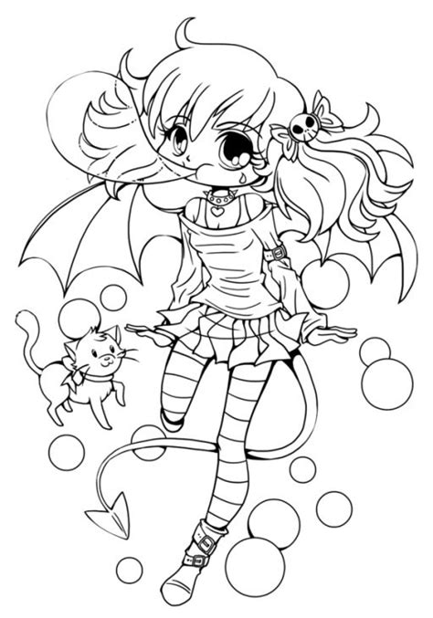 chibi girl cute coloring sheet  teenagers chibi