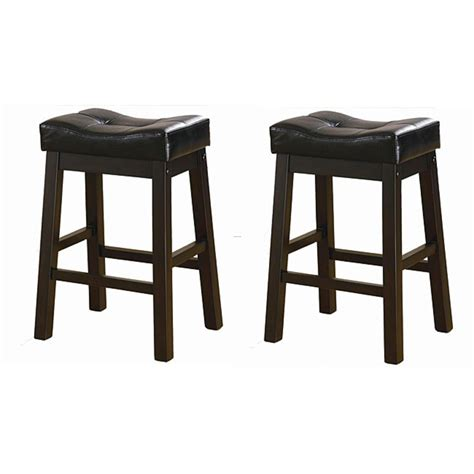 black leather bar stools counter height black 24 inch bicast leather counter height saddle bar