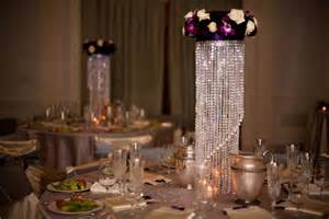 purple chandelier centerpiece deco