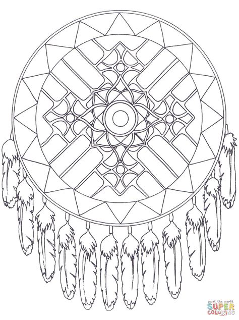 native american dreamcatcher mandala coloring page free