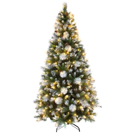 indoor artificial frosted tipped tree with fibre