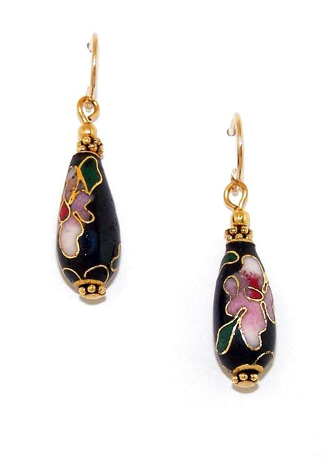 black cloisonne teardrop earrings handmade beaded