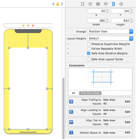 xcode xib layout ios safe area of xcode 9 stack overflow