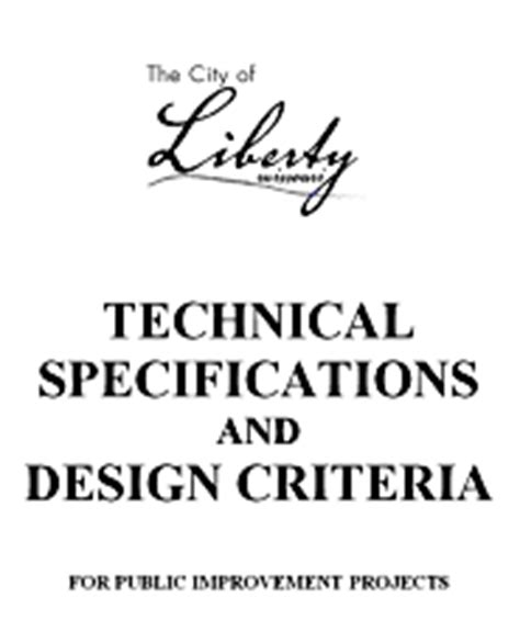 design criteria vs specification design criteria technical specifications the city of