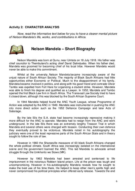 biography of nelson mandela for grade 6 english comprehension tests grade 6 south africa free