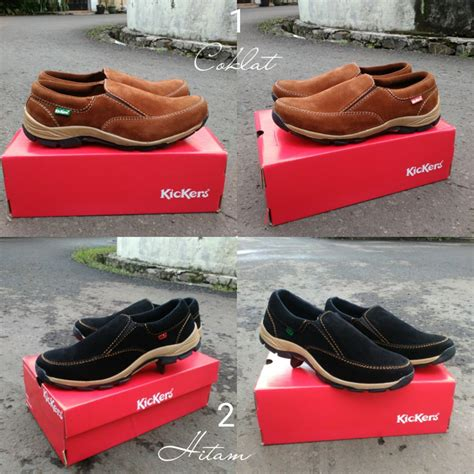 Sepatu Kickers Casual Sneakerd Slip On Suede Brown Black 5 jual sepatu santai casual simple simpel kickers slip on
