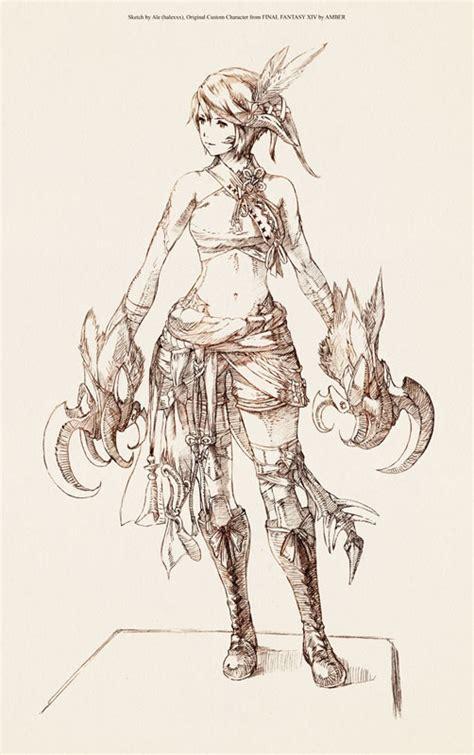 Ra Original fanart sketch au ra original character from