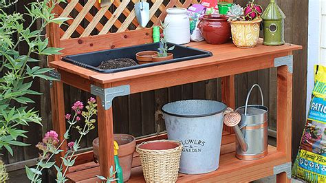 Wood Trellis Fence Outdoor Potting Bench Diy Done Right