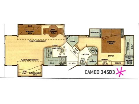 carriage rv floor plans 2012 carriage cameo f34sb3 photos details brochure floorplan