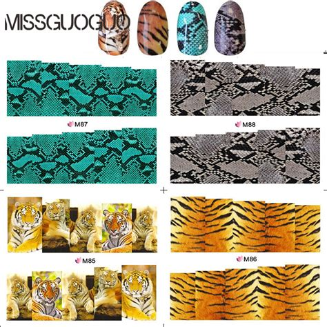 Sticker Water Decal Xf1240 blem85 88 water decal cover nail stickers real tiger snake skin design nail sticker for