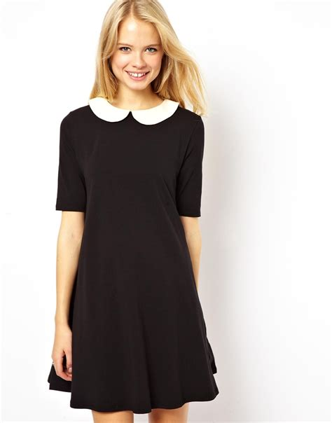 swing dress with collar asos swing dress with contrast collar online shopping