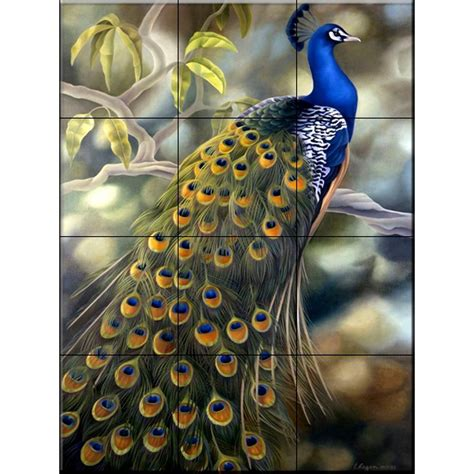 ceramic wall tile murals the tile mural store peacock 18 in x 24 in ceramic mural
