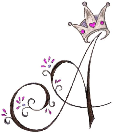 princess crown tattoo designs a initial with princess crown by metacharis on