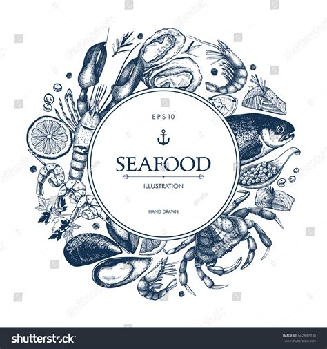 vector frame hand drawn seafood illustration stock vector