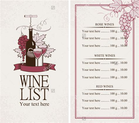wine list template free 26 wine menu templates free sle exle format