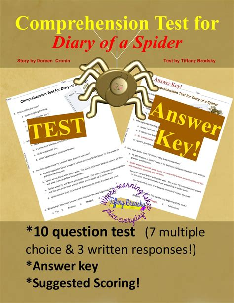 spider test diary of a spider test and answer key