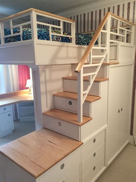 Bunk Bed With Closet Loft Bed With Stairs Drawers Closet Shelves And Desk