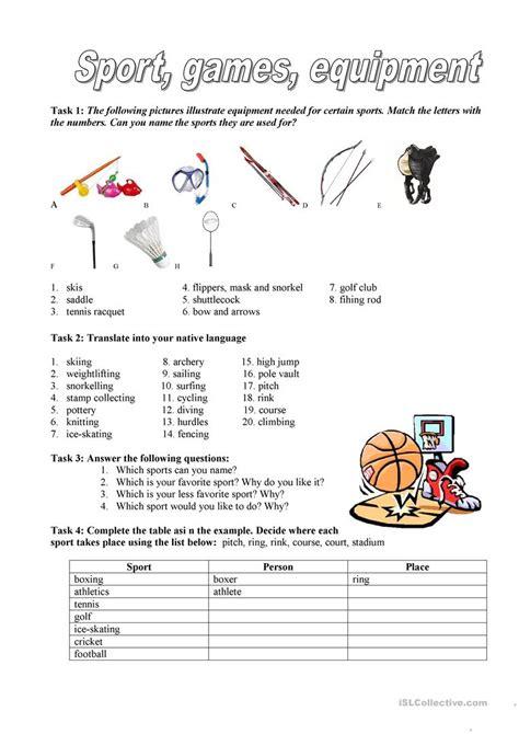 Sports Vocabulary Worksheet by Sport Equipment Worksheet Free Esl Printable