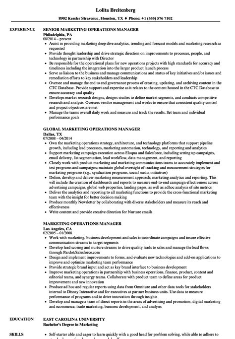 Advertising Operations Manager Sle Resume by Marketing Operations Manager Resume Sles Velvet
