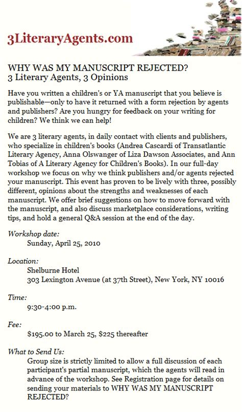 Inquiry Letter To Literary 3 Literary Agents Workshop Writing And Illustrating
