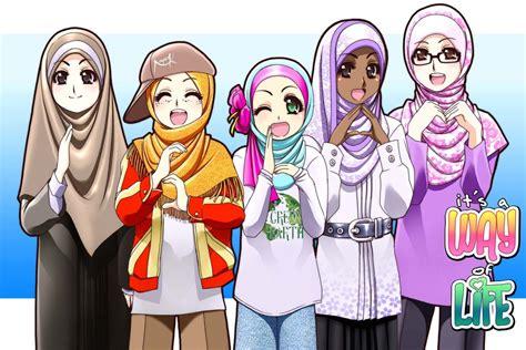 wallpaper cantik islami gambar kartun muslimah yang keren dan cantik