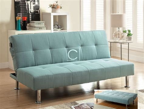 Blue Futon Sofa Bed by Dewey Blue Flax Fabric Futon Sofa Bed