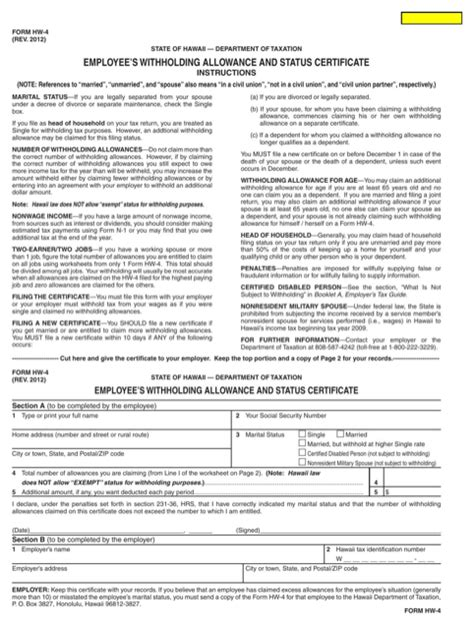 Form 12 Rent Withholding Letter Hawaii State Tax Withholding Forms For Free Formtemplate
