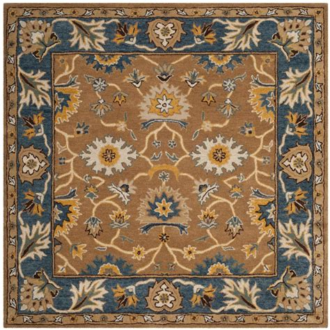 6 X 6 Area Rug Safavieh Heritage Camel Blue 6 Ft X 6 Ft Square Area Rug Hg652a 6sq The Home Depot