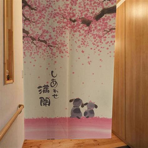where to buy short curtains romantic blossom cherry sakura and little dog japanese