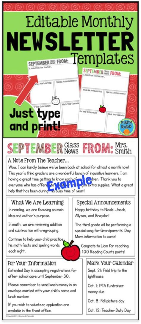 editable newsletter template 17 best images about creative classroom on