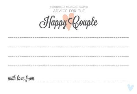 newlywed card template wedding advice alternative guest book idea free