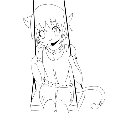 Cute Anime Cat Coloring Pages Neko Girl Lineart By Anime Neko Coloring Pages Printable