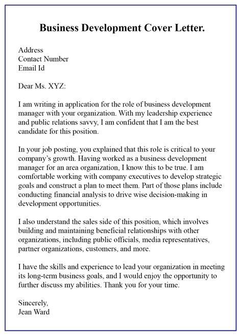 write business development cover letter