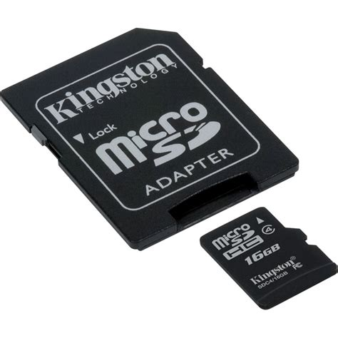 Micro Sd 16gb kingston 16gb microsdhc memory card class 4 with sd sdc4 16gb