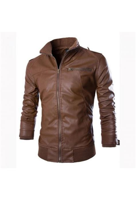 Zip Stand Collar Jacket mens stand collar zip pocket leather jacket