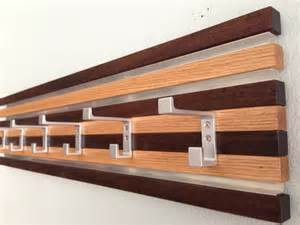 coat rack wall hanging 6 hook wood metal modern oak