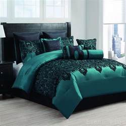 10 piece satin teal black flocked comforter set king size