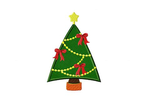 ribbon and bells christmas tree includes both applique and