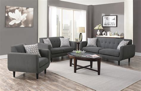 Coaster Stansall 2pc Grey Sofa Loveseat Set Dallas Tx Grey Living Room Chair