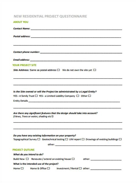 questionnaire design proposal interior design client intake form