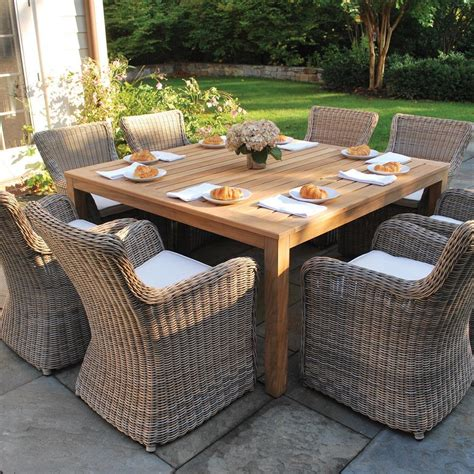 Outdoor Dining Patio Furniture Furniture Teak Outdoor Dining Tables Lowe S Canada Teak Outdoor Dining Table For 10 Teak