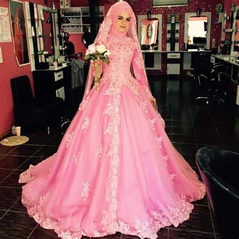 warna pink moslem pink wedding dress pink moslem wedding dress gaun pink muslim wedding dress turkish princess lace bridal