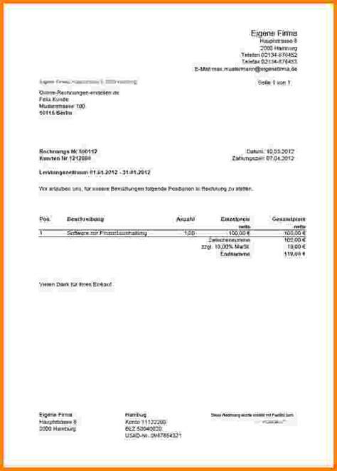 Rechnung Freiberufler Umsatzsteuer 10 Rechnung Schreiben Vorlage Freiberufler Sponsorshipletterr