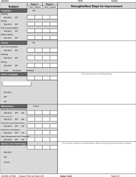 report card template word report card template word for free page 2