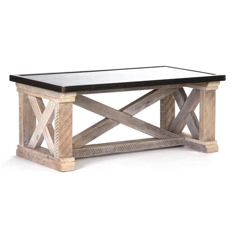 Zinc Top Coffee Table Valerya Zinc Top Chunky Rustic Solid Wood Coffee Table Kathy Kuo Home