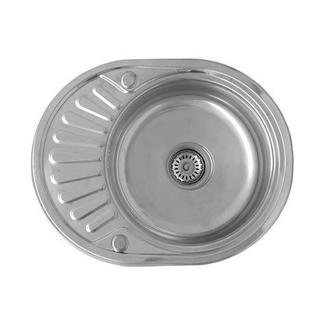 round kitchen sinks stainless steel enki compact single bowl inset round stainless steel