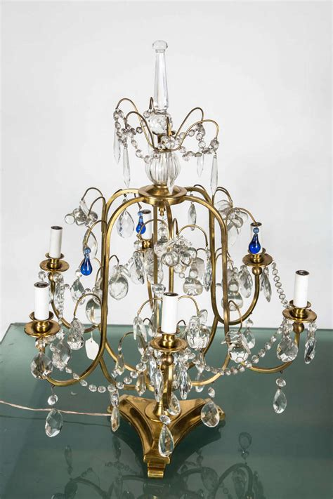 Blue Chandelier Crystals Bronze And Table Chandelier With Cobalt Blue Teardrops At 1stdibs