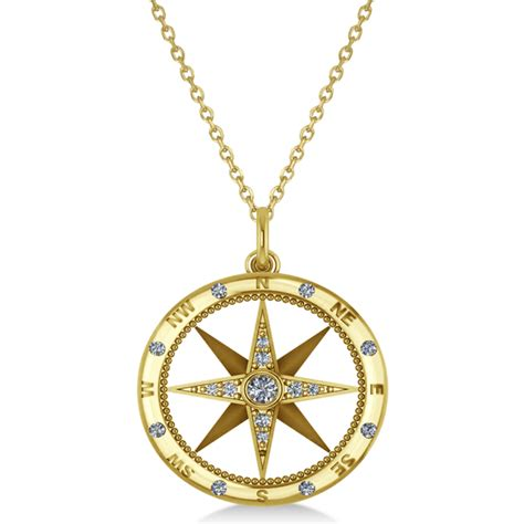 Compass Necklace compass necklace pendant accented 14k yellow gold