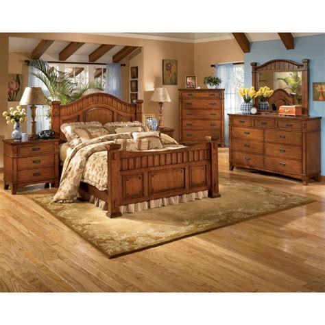queen poster bedroom set ashley furniture signature designcross island 7 piece