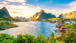 norway houses scenery mountains lake sky lofoten nature cities 414444 wallpapers13